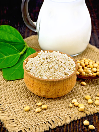 Soy flour in the bowl, soybeans in a spoon and on a napkin of burlap, milk in a jug, green soya leaf against a dark wooden board