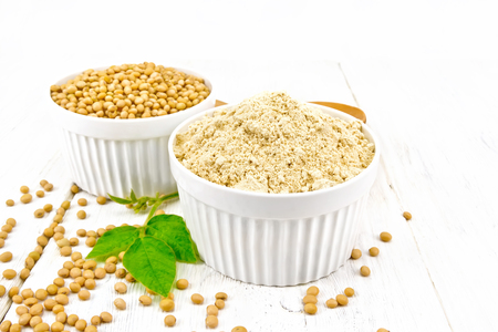 Soy flour and soybeans in two white bowls, green leaves on a wooden board background Stock Photo