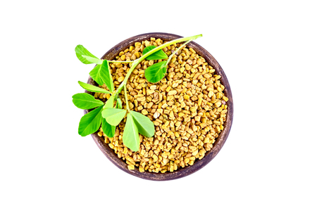 Fenugreek seeds in a clay bowl with green leaves isolated on white background from above