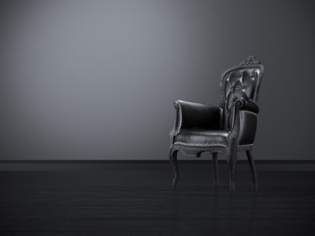 baroque furniture: Vintage black chair in the dark room  Stock Photo