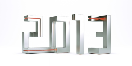 3d model new year 2013 made of metal square lines photo