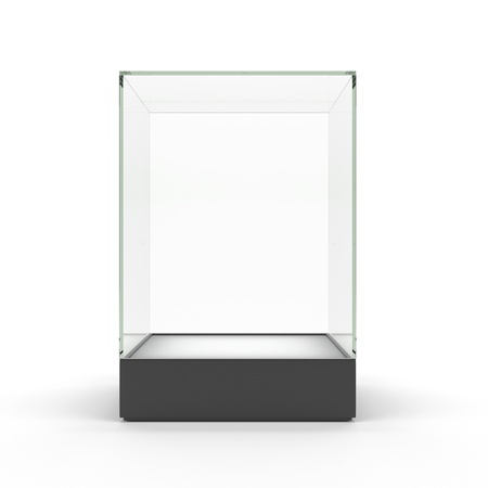 Empty glass showcase for exhibit isolated photo