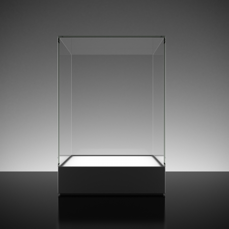 boutique display: Empty glass showcase for exhibit
