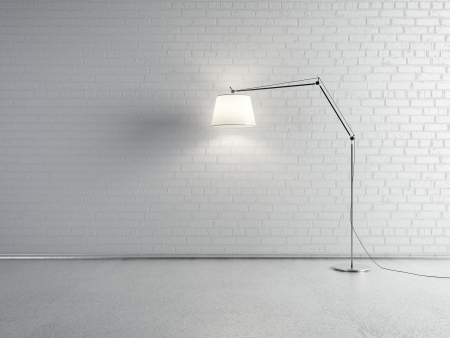 floor lamp: Lamp front of a brick wall Stock Photo