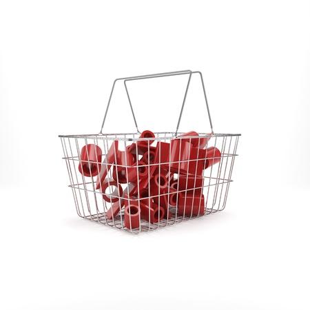 stock market crash: Shopping basket with discount