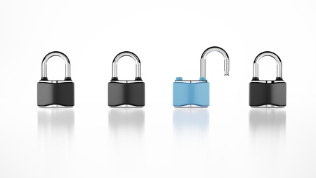 Two open and close padlocks Stock Photo - 16033270