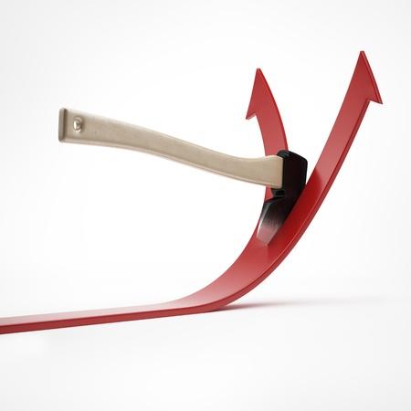 dividing: Ax cuts the arrow Stock Photo