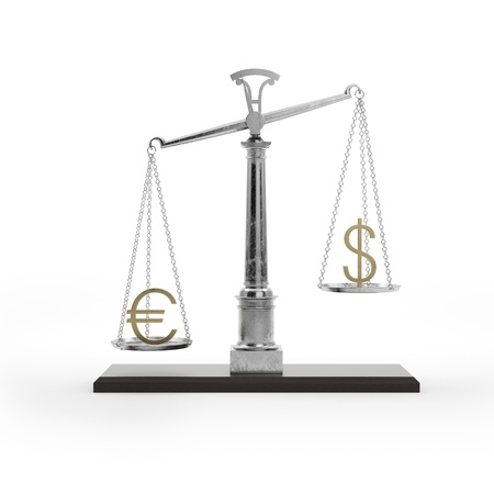 Scale with symbols of currencies Stock Photo - 16215521