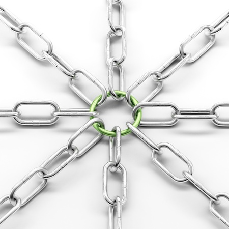 shackle: Metal chain with green ring