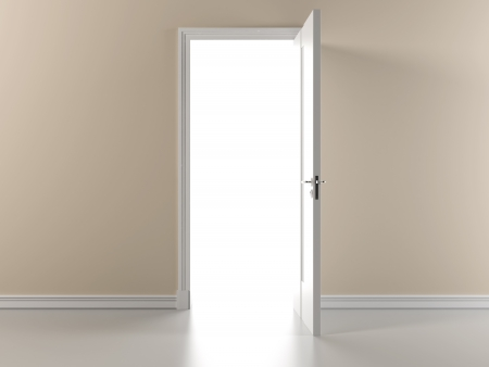 doorways: Beige wall with open door