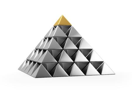 Pyramid of shiny silver small pyramids