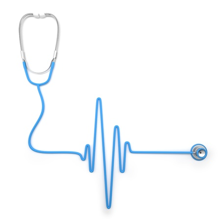 heart ecg trace: Stethoscope in shape of electrocardiogram line