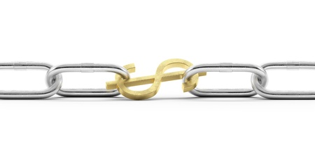 hotlink: Euro currency symbol in chains Stock Photo