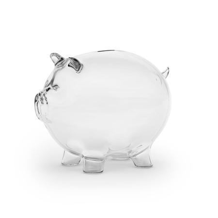 white piggy bank: Empty glass piggy bank Stock Photo