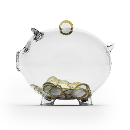 piggy bank money: Glass piggy bank with euro coins  Side view