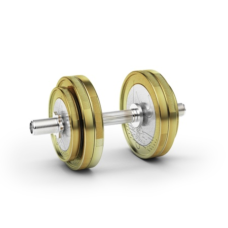 adjustable dumbbell: Dumbbell with euro coin  Stock Photo