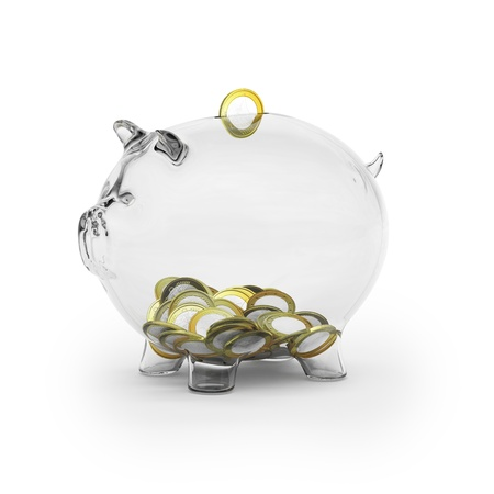 bank deposit: Glass piggy bank with euro coins Stock Photo
