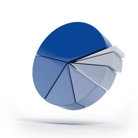 Blue pie graphs isolated Stock Photo - 16318025