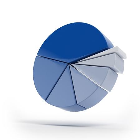 grafica de pastel: Gráficos circulares azules aislados Foto de archivo