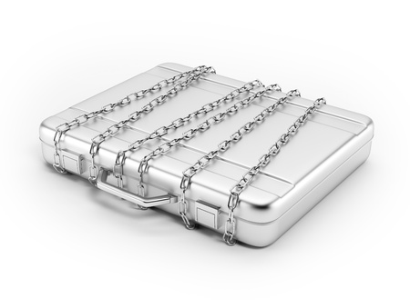 Business briefcase locked with strong chain Stock Photo - 16318085