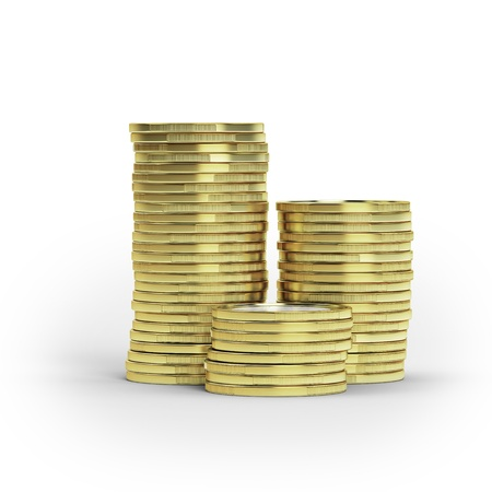 Stack of goldcoins isolated Stock Photo - 16318093