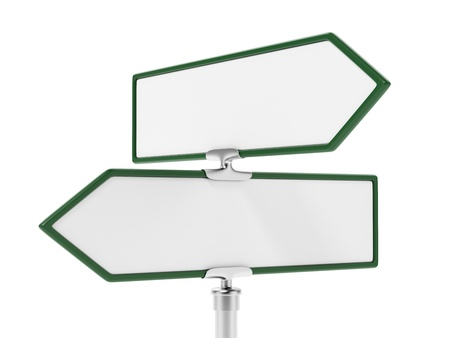 Blank two road signs  close-up photo