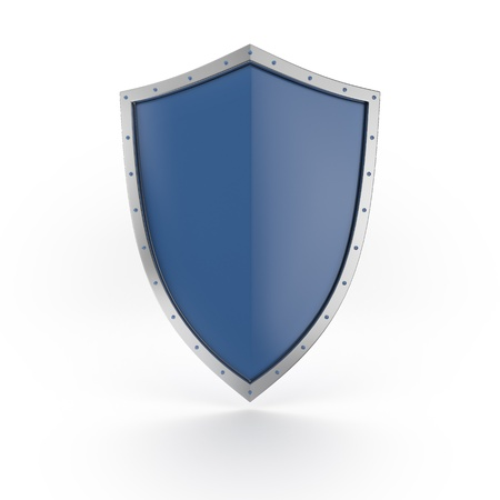 metal shield: A blue shield with shiny silver border