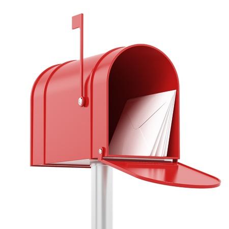 caixa de correio: Caixa de correio vermelho com e-mails