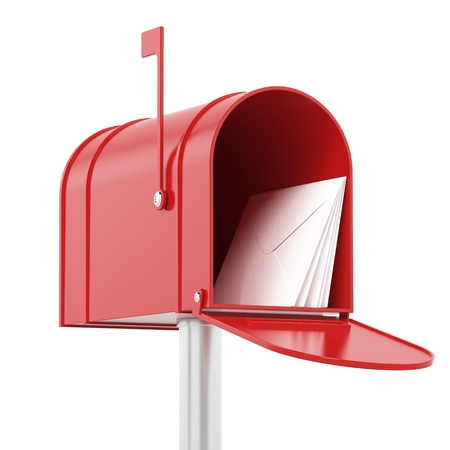 post box: Red red mailbox with mails Stock Photo