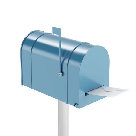 metal mailbox: Blue mailbox with mail Stock Photo