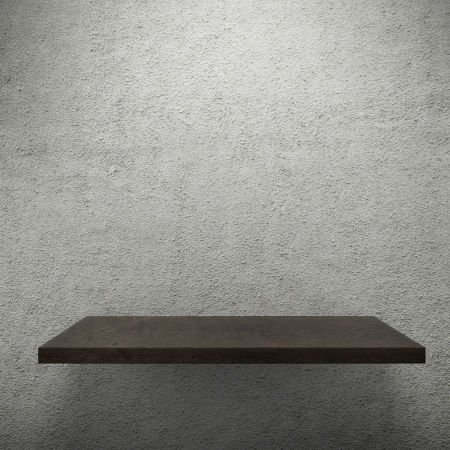 expansive: Wooden empty shelf for exhibit