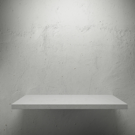 expansive: White empty shelf for exhibit