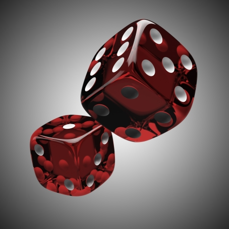 probability: Two shiny red dices Stock Photo