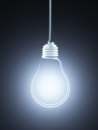 light bulb icon: 3d hanging  bulb silhouette