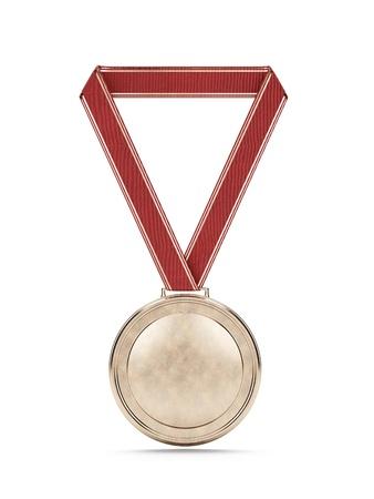 rosette: Medalla de oro con la cinta roja Foto de archivo