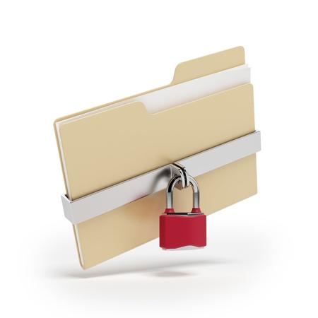 secure backup: Confidential files  Padlock on folder