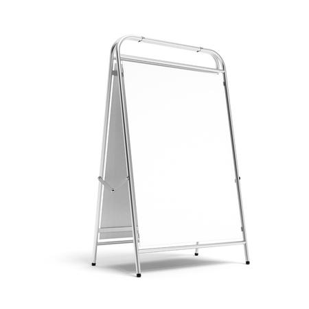 portative: Metal white advertising stand  Stock Photo