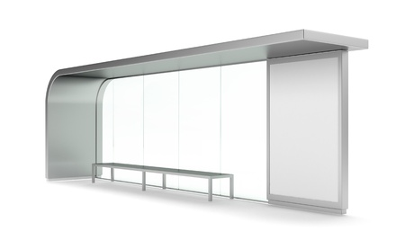 bus station: Modern bus stop with blank banner Stock Photo