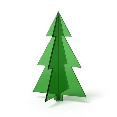 Christmas tree made   of green glass photo