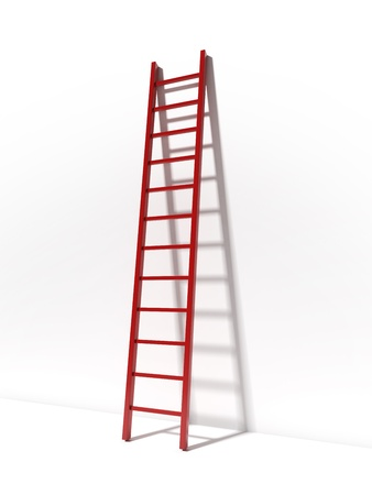 Red ladder near white wall photo