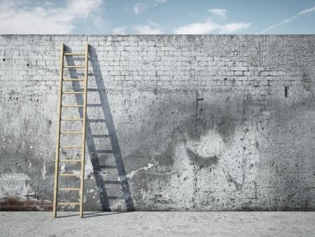grafitis: Escalera en la pared en frente de cielo