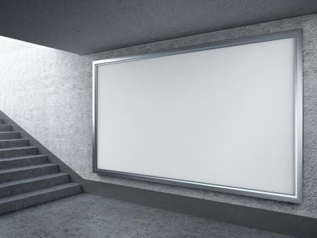 billboard blank: Blank billboard in subway