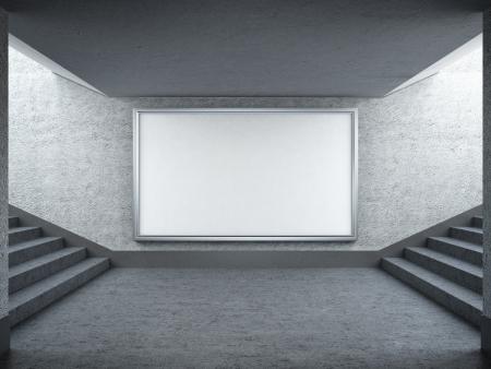Cartelera en blanco y escalera en metro Foto de archivo
