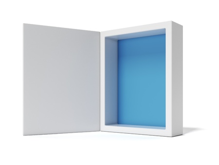 blank box: Opened white Box with blue inside