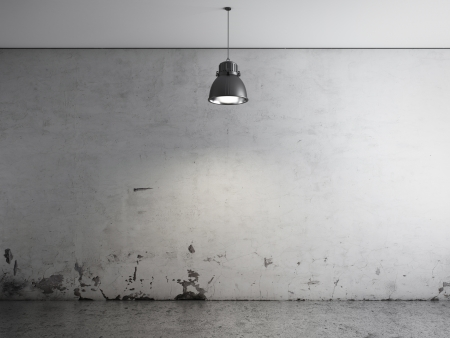 Room with ceiling lamp and concrete floor photo