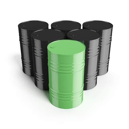poison arrow: Green recycling barrel Stock Photo