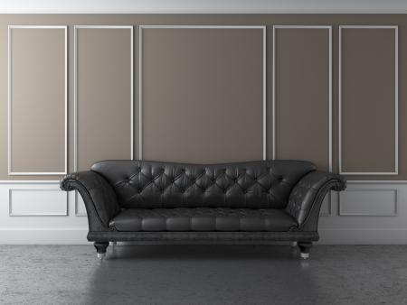 Classic interior with black sofa photo