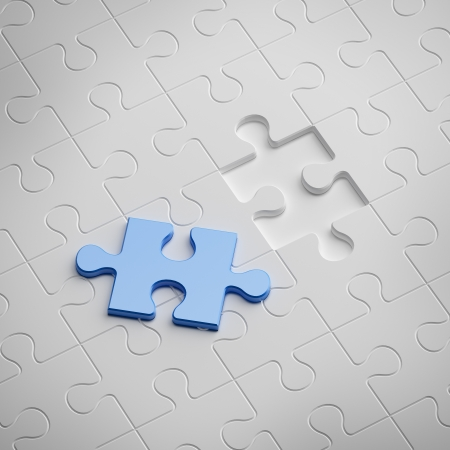 complete solution: Blue piece of white puzzle Stock Photo