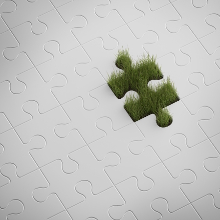 Green grass from puzzle photo