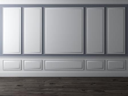 Klassischer Innenraum mit blauer Wand und Holzboden